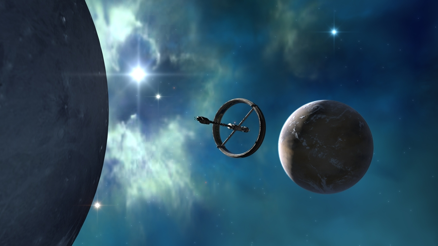 starship inside nebula