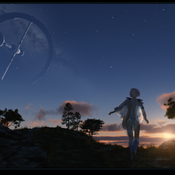 girl looking at evening sky